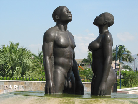 This prominent sculpture comprises of two naked black male and female ...